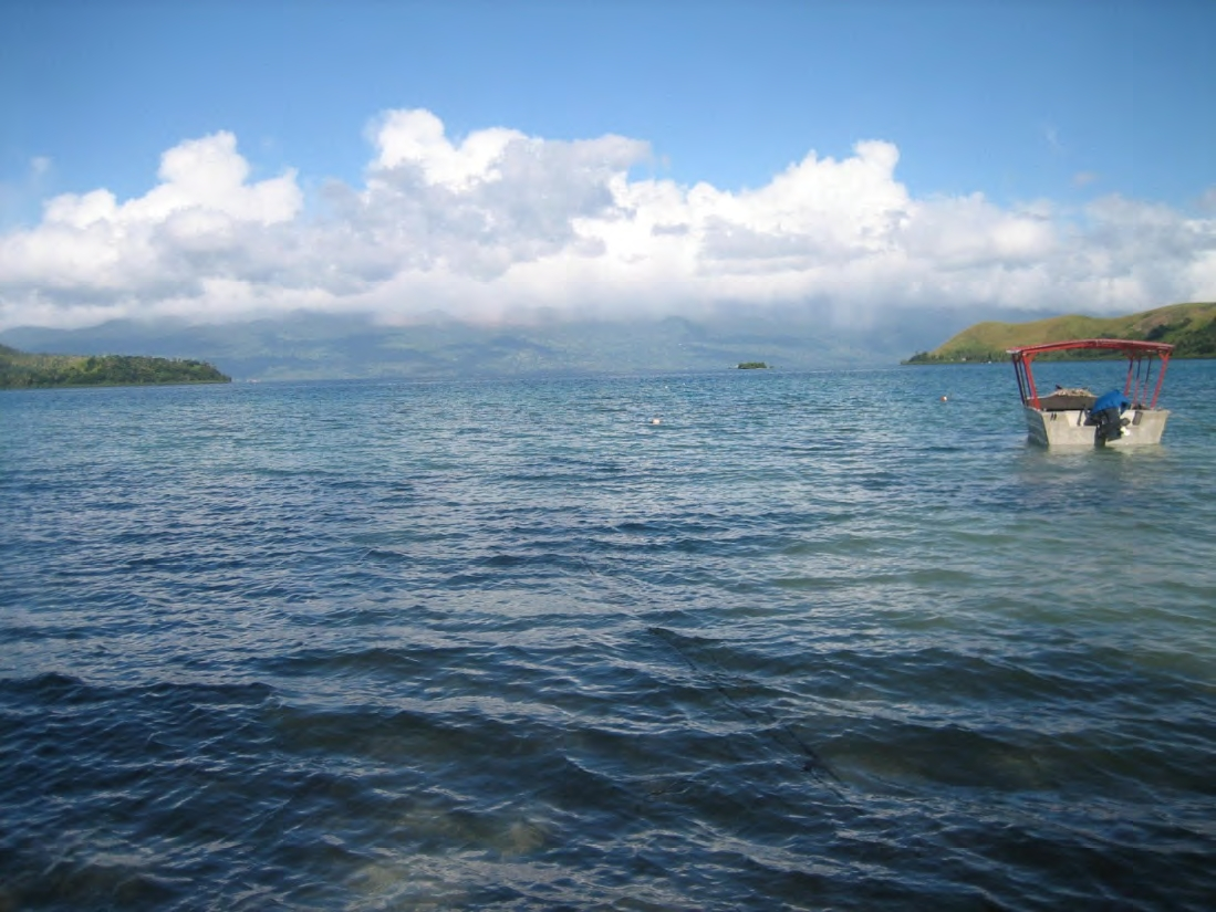 Viani Bay, looking out from the beach.
