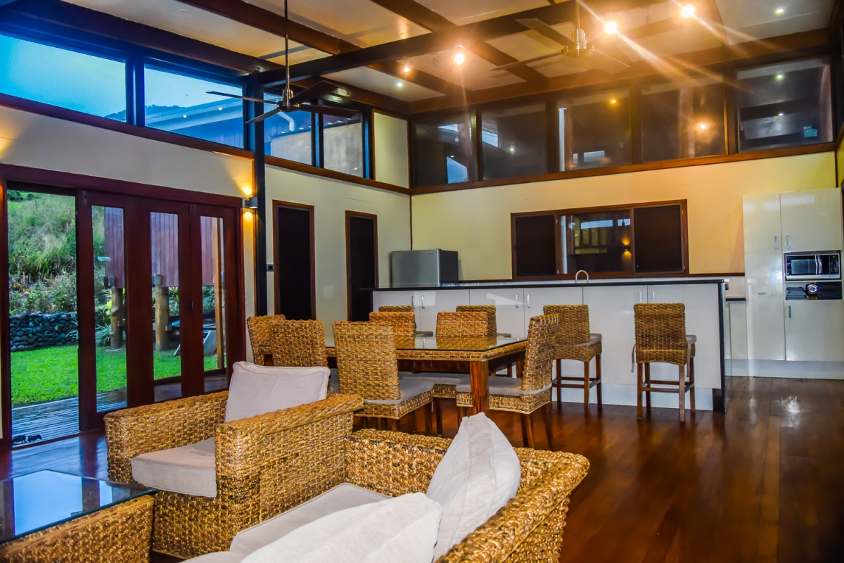 Four Pavilion Home, Soqulu, Taveuni Estates, Fiji - Main Living Room and Kitchen