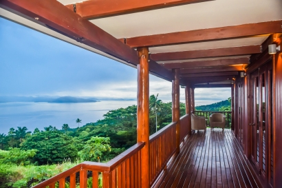 Four Pavilion Home, Soqulu, Taveuni Estates, Fiji - Deck View