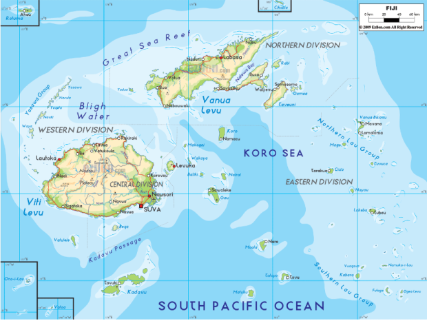 FIJI Islands Map And Travel Information Noble Realty Taveuni - Fiji location