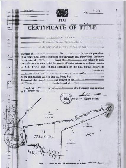 Niubavu Certificate of Title